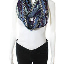 Auth Nwt Missoni Orange Label Blue Purple White Wool Chevron Knit Infinity Scarf Photo