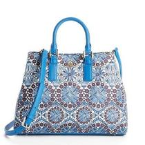 Auth Nwt Tory Burch Blue Floral 'Robinson' Triangle Tote 395 Photo