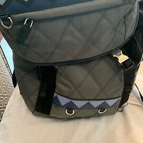Auth. Prada Black/gray Tessuto Nylon  & Saffiano Leather Quilted Backpack. Italy Photo