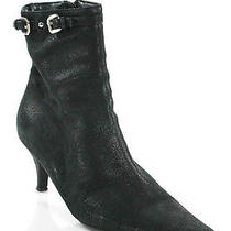 Auth Prada Black Leather Squared Toe Buckle Strap Ankle Boots Sz 38 8 Photo