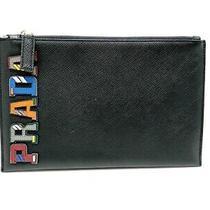 Auth Prada Black Multi Leather Clutch Bag Photo