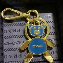 Auth Prada Blue/gold Bear Bag Charm Key Ring Keychain W/box Excellent F/s Photo