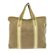 Auth Prada Canapa Hand Tote Bag Beige White Canvas Leather Italy Vintage B24598 Photo