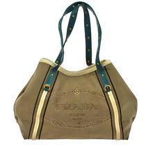 Auth Prada Canapa Logos Hand Tote Bag Beige Blue Canvas Italy Vintage M07264 Photo