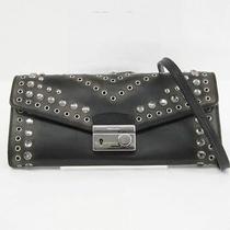 Auth Prada Chain Wallet Calf Leatherstudsrhinestone Black 1m1290 118807 Photo