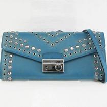 Auth Prada Chain Wallet Calf Leatherstudsrhinestone Blue 1m1290 118806 Photo