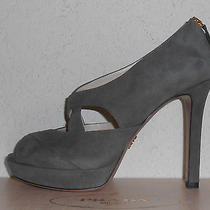 Auth Prada Gray Suede Peep Toe Platform Pumps Heels Eu 39 (Us 9) 830 Nib Photo