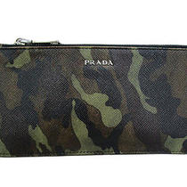 Auth Prada Leather Zipped Long Wallet Camouflage Photo