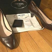 Auth Prada Ruched Chocolate Brown Pumps Antic Soft Leather Size 38/8 Great Cond. Photo