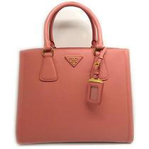 Auth Prada Saffiano Calf Leather Tote Bag Pinkxwhite (Limited Edition) Photo