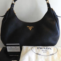 Auth Prada Vitello Daino Black Leather Hobo Bag Purse Handbag New Photo