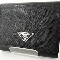 Auth Prada Wallet Trifold Purse Leather Black Free Shipping 98110031800 2278 Photo
