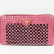 Auth Prada Zip-Around  Long Wallet Intrecciato Madras Pink 1m0506 118716 Photo