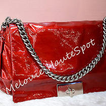 Auth Rare Celine Red Patent Leather Watch Me Play Flap Chain Bag Antique Hw  Photo