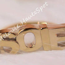 Auth Rare Herme Soie Logo Letter Ghw Gold Tone Charm Scarf Ring New Photo