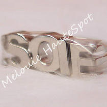 Auth Rare Herme Soie Logo Letter Phw Silver Palladium Tone Charm Scarf Ring New Photo