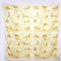 Auth Rare Hermes Scarf Shawl Cotton 142x142 Lion Pattern With Box Brand New  Photo