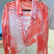 Auth. Roberto Cavalli 100% Paint Silk Blouse/ Top Size Large Photo