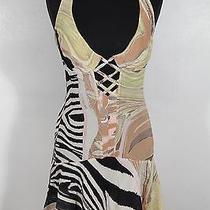 Auth Roberto Cavalli 100% Silk Halterneck Corseted Mini Dress Size M Tv  Photo