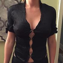 Auth Roberto Cavalli Black Too Blouse Small Silk Ribbed Mother of Pearl Photo