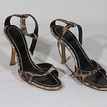 Auth Roberto Cavalli Leopard Canvas Heeled Sandals Heels Shoes Sz 39 1/2 Tv Photo