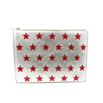 Auth Saint Laurent Ysl Clutch Calfskin Leather Red Silver 5049 Photo
