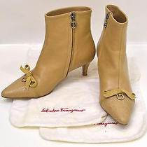 Auth Salvatore Ferragamo Gancini Ribbon Lamb Leather Ankle Short Boots Beige 6 D Photo