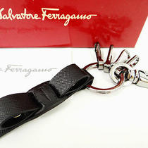 Auth Salvatore Ferragamo Ribbon Key Charm Vara Ring Leather Black 09110122400 6 Photo
