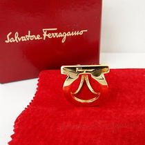 Auth Salvatore Ferragamo Scarf Ring Gancini Gold Tone Italy 20120205600 8047 Photo