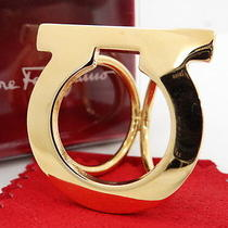 Auth Salvatore Ferragamo Scarf Ring Gancini Gold Tone Italy Box 25110585700 2288 Photo
