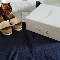 Auth See by Chloe Glyn Tan White Leather Canvas Platform Espadrille Wedge 37 7 Photo