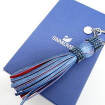 Auth Swarovski Key Ring Charm Tassele Leather Crystal Blue 01110321200 4147 Photo
