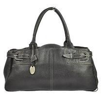 Auth Tod's Logos Charm Shoulder Tote Bag Black Brown Leather Vintage Bt04171b Photo
