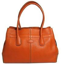 Auth Tod's Orange Pebbled Leather Tote Bag Small Photo