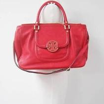 Auth Tory Burch Flame Red Leather 'Amanda' Double Zip Tote 525 Photo