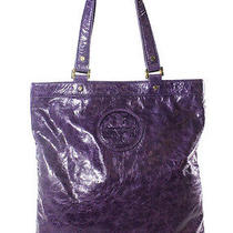 Auth Tory Burch Purple Leather Gold Tone Stacked T Logo Tote Handbag Photo