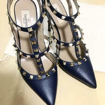 Auth Valentino Rockstud Ankle Strap Pumps Sandals Navy Size Eur 38.5 Used Japan Photo