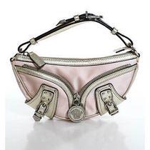 Auth Versace Blush Pink Satin Metallic Gold Trim Baguette Handbag Photo