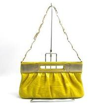 Auth Versace Embossed Leather 2way Handbag Shoulder Bag Yellow Photo