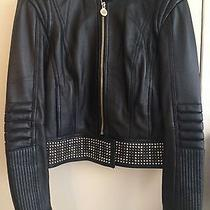 Auth Versace for h&m Hm Black Lambskin Leather Studded Moto Jacket Us Size 6  Photo