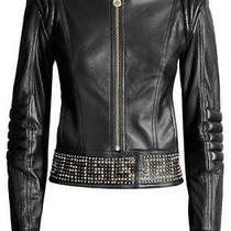 Auth Versace for h&m Hm Studded Biker Leather Jacket Studs Black Size 2 Rare Photo