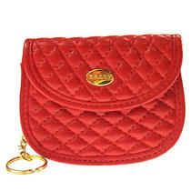 Auth Vintage Bally Quilted Leather Red Gold Purse Coin Case Key Ring W12608 Photo