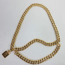 Auth  Vintage Coco Chanel Chunkygold Plated Chain Used With Box Photo