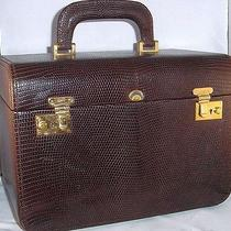 Auth Vintage Gucci Brown Lizard Skin Train Vanity Cosmetic Travel Case Awesome Photo
