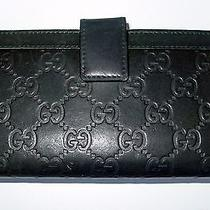 Auth Vintage Gucci Gg Logo Embossed Leather Large Bi-Fold Wallet/very Rare- Wow Photo
