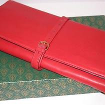 Auth Vintage Gucci Red  Leather Jewelry Travel Pouch Looks Unused W Gucci Box  Photo