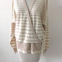 Auth Vintage Sonia Rykiel Faux Wrap Stripe Sweater Size 38 Blush and Cream Color Photo