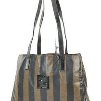 Auth Vtg Fendi Brown and Black Striped Canvas Tote Shoulder Bag Purse 38008 Photo