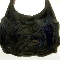 Auth Yves Saint Laurent Black Suede Ruffle Purse/hobo/shoulder Bag - Rare Beauty Photo