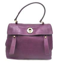 Auth Yves Saint Laurent Calfskin Leather Ghw Muse Two Handbag Purple Photo